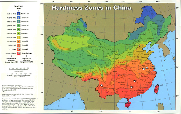 The hardiness zones of the US and China warmest record