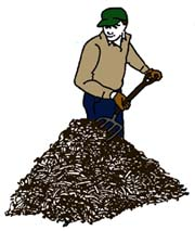 Drawing of a man turning a compost pile with a garden fork.