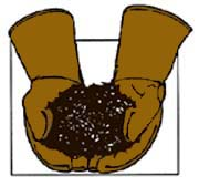 Drawing of a pair of leather gloves holding compost.