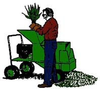 drawing of man using a chipper/shedder to break down tree clippings