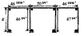 drawing showing the dimensions for wooden three-bin turning unit (back dimensions: 46 13/16 inches, 50 1/4 inches, and 46 13/16 inches; side dimension 4 feet; interior walls: left: 46 1/4 inches, right: 47 1/4 inches)