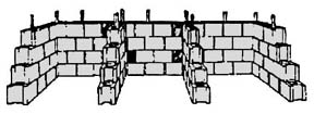 drawing of concrete-block three-bin turning unit