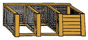 drawing of wood and wire three-bin turning unit