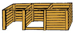 drawing of wooden three-bin turning unit