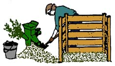 drawing of a lady adding material from a shredder to a compost pile
