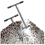 drawing of compost pile with garden forks sticking out