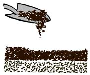 drawing of shovel adding material to a compost pile