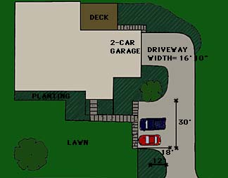 drawing showing an addition of parking along the drive to a house