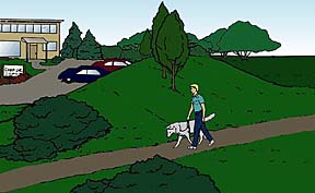 drawing showing an earth molding, a small hill, blocking the view of a parking lot from a person walking his dog along an adjacent path