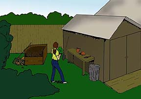 drawing of a work area showing a shed, work bench and compost pile