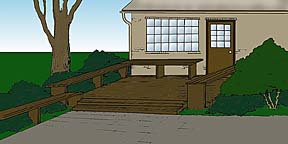 drawing showing a deck adjacent to a house entryway