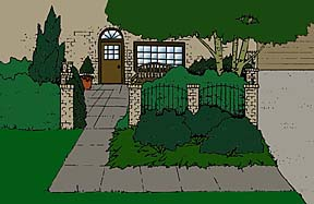 drawing showing a courtyard entrance to a house with fencing and small trees and shrubs