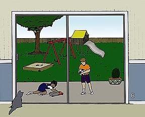 drawing of a view out of a sliding glass door of children at play on a patio with a swing set in the yard; a cat looks out the glass door