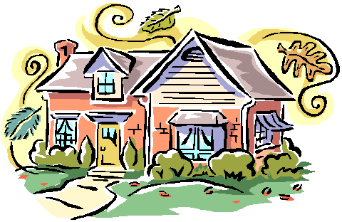 stylized drawing of a house, brightly colored in pastels, with fall leaves floating in the wind currents around the house
