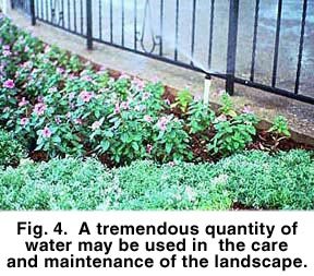 Fig 4. A tremendous quantity of water may be used in the care and maintenance of the landscape.