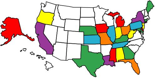 map of the United States showing states with Earth-Kind Trial Gardens