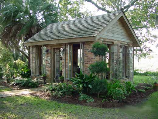 For the home pool houses on pinterest pool houses for Brick garden room designs