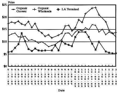 figure 1 shows a graph of market prices for organic lettuce